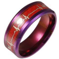 *COI Titanium Purple Red Heartbeat Beveled Edges Ring-6854