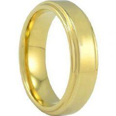 COI Gold Tone Titanium Polished Shiny Step Edges Ring - JT3123AA