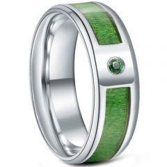 *COI Titanium Wood Beveled Edges Ring With Cubic Zirconia-6886BB