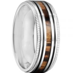 *COI Titanium Black Silver Milgrain Ring With Wood-6900AA