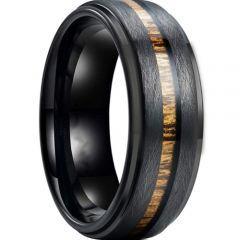 *COI Black Titanium Sandblasted Step Edges Ring With Wood-6902AA