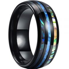 *COI Black Titanium Abalone Shell Dome Court Ring-6911AA