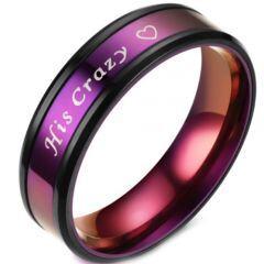 **COI Titanium Black Purple His Crazy & Heart Beveled Edges Ring-6947AA