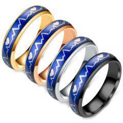 **COI Titanium Black/Rose/Silver/Gold Tone Blue Heartbeat & Heart Ring-6965AA