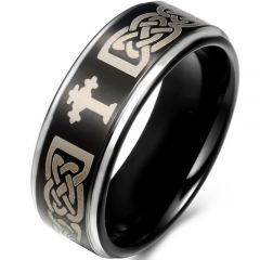 *COI Titanium Cross Celtic Step Edges Ring - JT1585BB