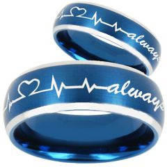 COI Titanium Heartbeat & Heart Beveled Edges Ring-810