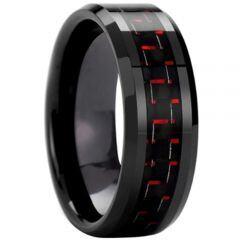 COI Black Titanium Beveled Edges Ring With Carbon Fiber - 825