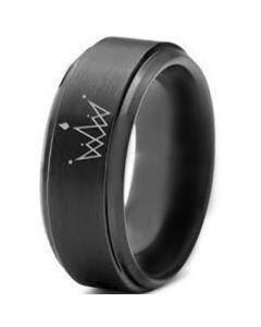 COI Black Titanium King Crown Step Edges Ring-891