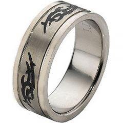 COI Titanium Double Grooves Celtic Ring - JT896A