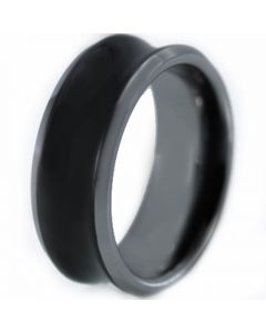 COI Titanium Black Silver Concave Wedding Band Ring-JT5100