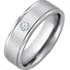 COI Titanium Step Edges Ring With Genuine Diamond - JT1117