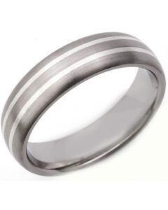 COI Titanium Double Lines Dome Court Ring - JT1320
