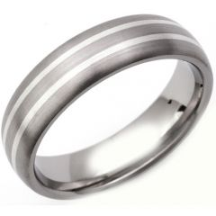 COI Titanium Double Lines Dome Court Ring - JT1320