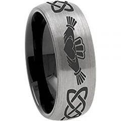 COI Titanium Black Silver Mo Anam Cara Dome Court Ring-JT141BB