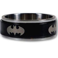 *COI Titanium Black Silver Batman Step Edges Ring - JT1438A