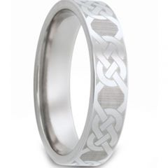 COI Titanium Celtic Pipe Cut Flat Ring - JT1555