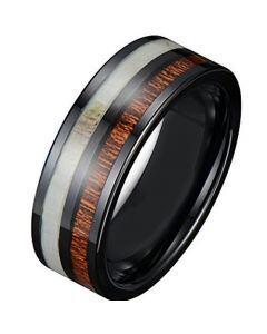 COI Black Titanium Antler & Wood Pipe Cut Flat Ring - JT1598