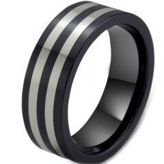 COI Titanium Double Line Pipe Cut Flat Ring - JT1604A