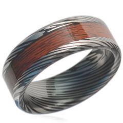 *COI Black Titanium Damascus Wood Beveled Edges Ring-JT1606