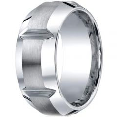 *COI Titanium Horizontal Grooves Beveled Edges Ring - JT1700