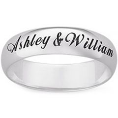 COI Titanium Dome Court Ring With Custom Names Engraving - JT194