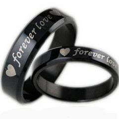 COI Black Titanium Forever Love Beveled Edges Ring - JT2150