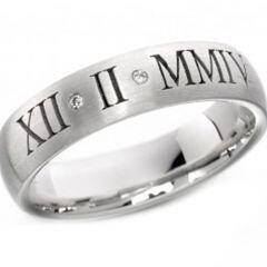 COI Titanium Genuine Diamond Custom Roman Numerals Ring-JT2181