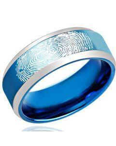 COI Titanium Beveled Edges Ring With Custom FingerPrint-2187
