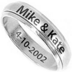 COI Titanium Step Edges Ring With Custom Names Engraving-JT2313
