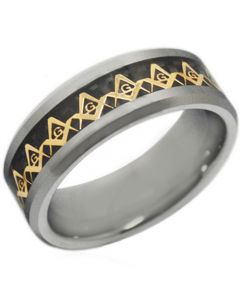 COI Titanium Gold Tone Masonic Ring With Carbon Fiber - JT2381