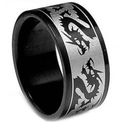 COI Black Titanium Dragon Pipe Cut Flat Ring - JT2534A