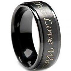 COI Black Titanium Ring With Custom Engraving-JT2569