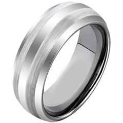 COI Titanium Dome Court Double Lines Ring - JT2611AA