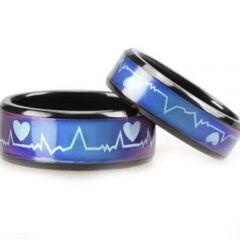 COI Titanium Black Blue HeartBeat Beveled Edges Ring-JT2784