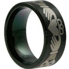COI Black Titanium Mo Anam Cara Pipe Cut Flat Ring - JT2878