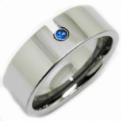 COI Titanium Pipe Cut Flat Ring With Created Sapphire-JT2892