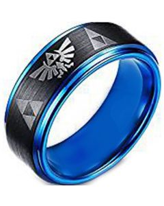 COI Titanium Black Blue Legend of Zelda Step Edges Ring-297
