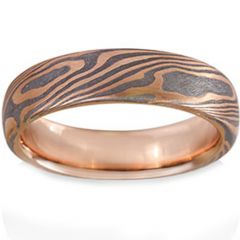 COI Titanium Rose Silver Damascus Dome Court Ring - JT3203AA