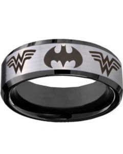 COI Titanium BatMan & Wonder Woman Beveled Edges Ring-JT3234