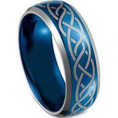 COI Titanium Blue Silver Celtic Beveled Edges Ring-JT3299