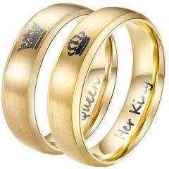 *COI Titanium King Queen Crown Beveled Edges Ring-JT3343AA