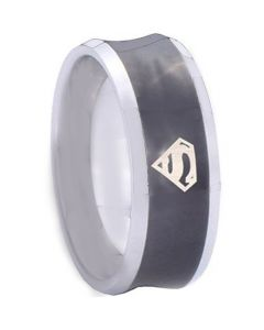 COI Titanium Black Siver Superman Concave Ring-JT3349