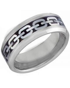 COI Titanium Chain Link Beveled Edges Ring - JT3398