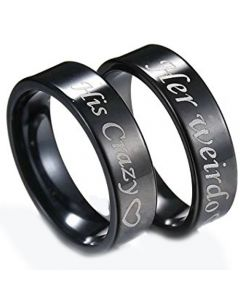 *COI Black Titanium His Crazy Her Weirdo Pipe Cut Ring-JT3548