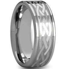 COI Titanium Celtic Double Grooves Ring - JT3638A