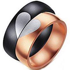 COI Titanium Black/Rose Heart Dome Court Ring-JT3765