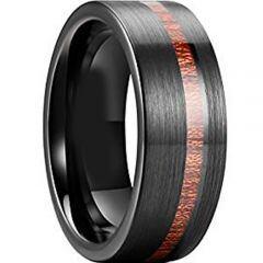 COI Black Titanium Offset Wood Pipe Cut Flat Ring - JT3812