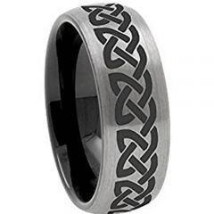 COI Titanium Black Silver Celtic Dome Court Ring - JT4016AA