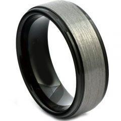 COI Titanium Black Silver Step Edges Ring-JT4084