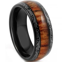 COI Titanium Damascus Dome Court Ring With Wood - JT4085